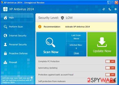 XP Antivirus 2014 snapshot