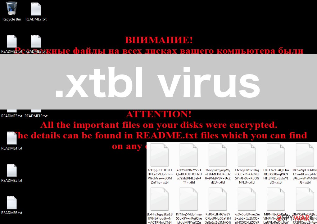 An illustration of the .xtbl virus ransomware