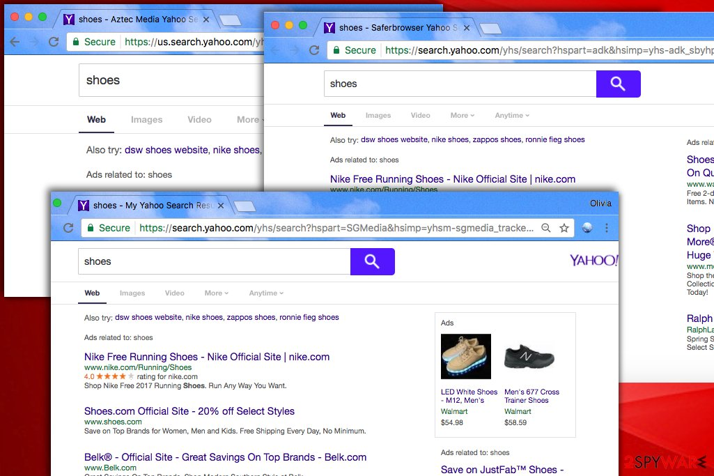 Examples of fake search results modified by Yahoo Redirect virus