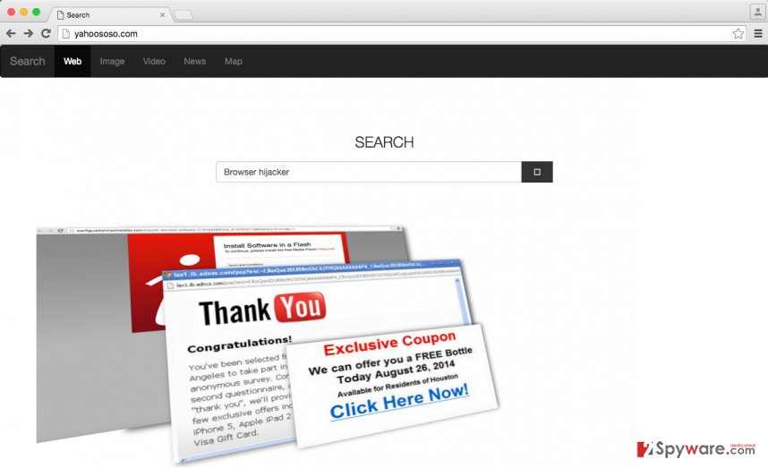 Yahoososo browser hijacker changes browser's homepage