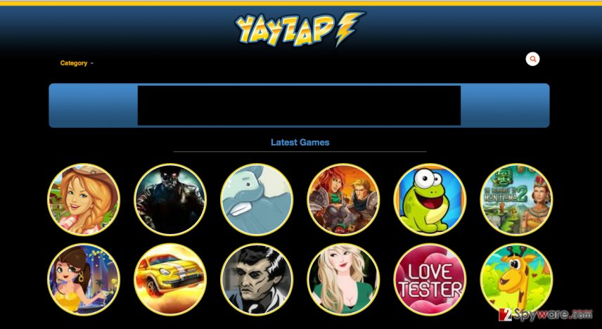 A screenshot of the YayZap adware