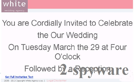 'You are cordially invited to celebrate our wedding' virus snapshot