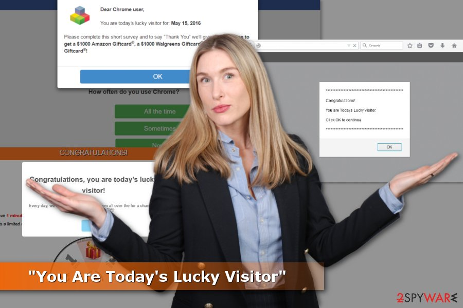"Examples of ""You Are Today's Lucky Visitor"" scams"