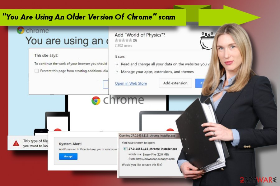 "Illustrating alerts related to ""You Are Using An Older Version Of Chrome"" scam"