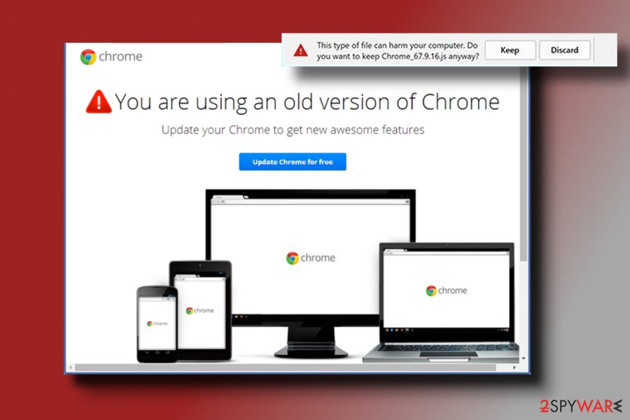 "screenshot of the ""You Are Using An Older Version Of Chrome"" pop-up"