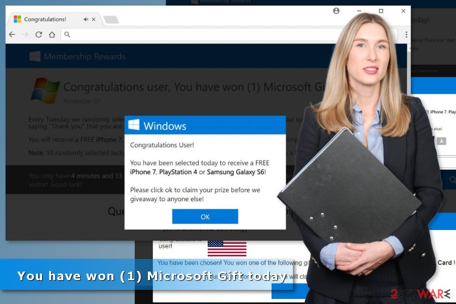 "Images of ""You have won (1) Microsoft Gift today"" survey scam"