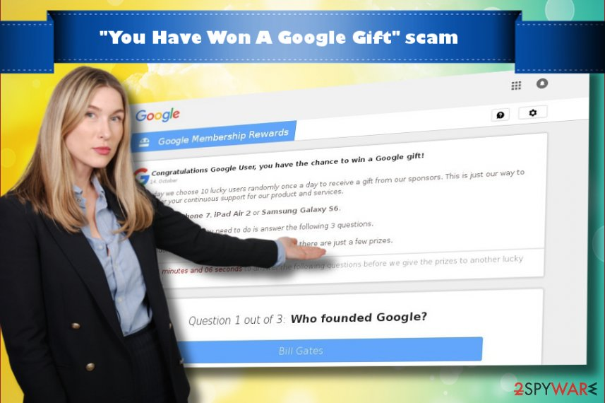 "Showing ""You Have Won A Google Gift"" virus"