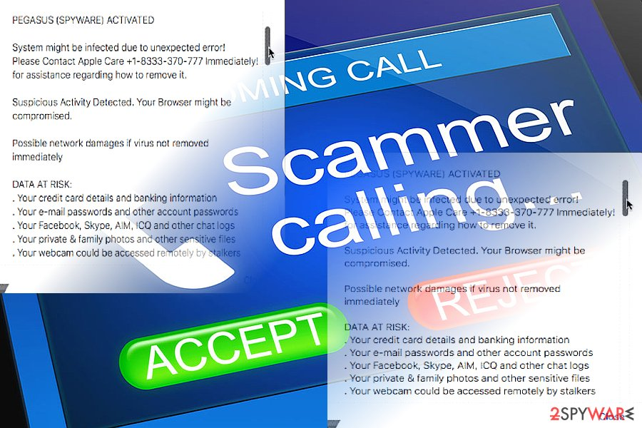 """Your Apple Device Has a Virus"" scam samples"