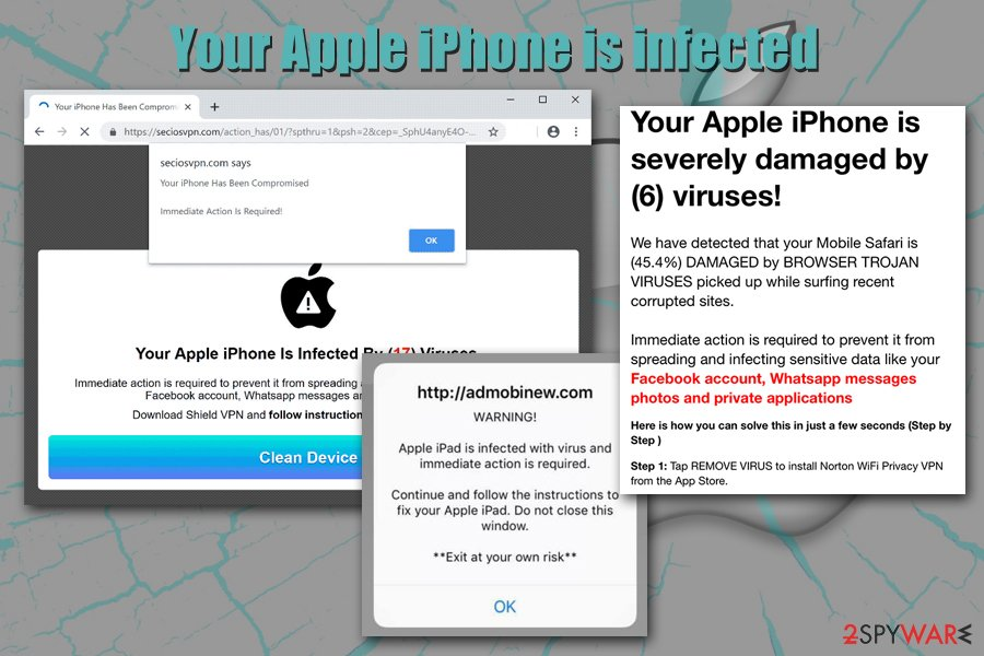 Your Apple iPhone is infected pop-up