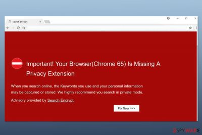 "Screenshot of ""Your Browser(Chrome 65) Is Missing A Privacy Extension"" scam"