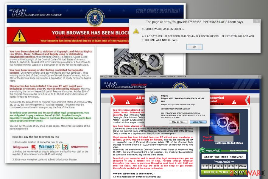 Your browser has been blocked scam examples
