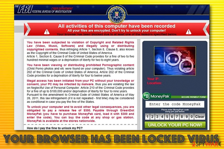 Your browser has been locked message