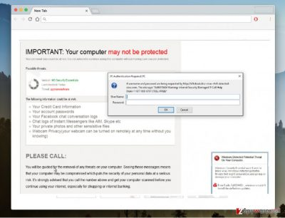 """An image of the """"Your computer may not be protected"""" virus"""