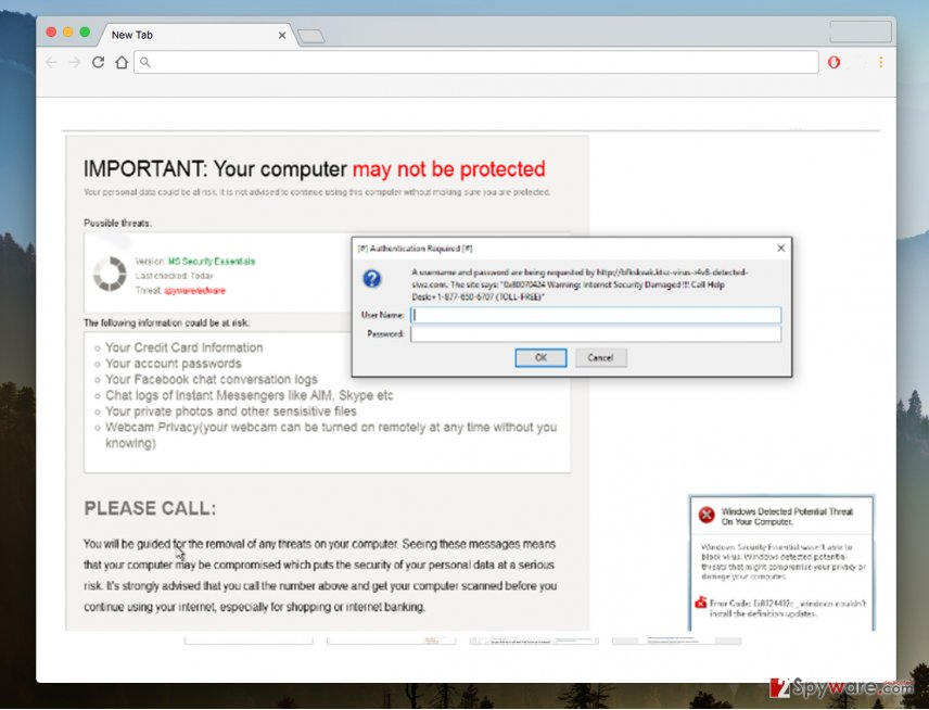 "An image of the ""Your computer may not be protected"" virus"