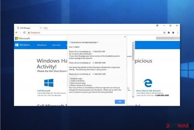Screenshot of YOUR DEVICE HAS BEEN BLOCKED Microsoft Scam