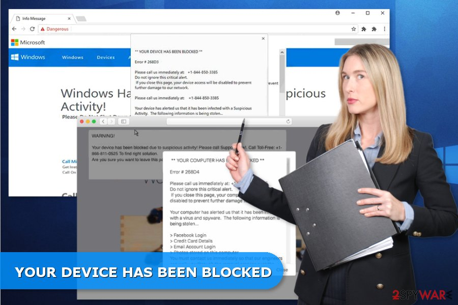 Examples of YOUR DEVICE HAS BEEN BLOCKED tech support scams