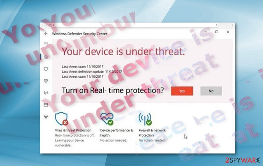 """Your Device Is Under Threat"" sample"