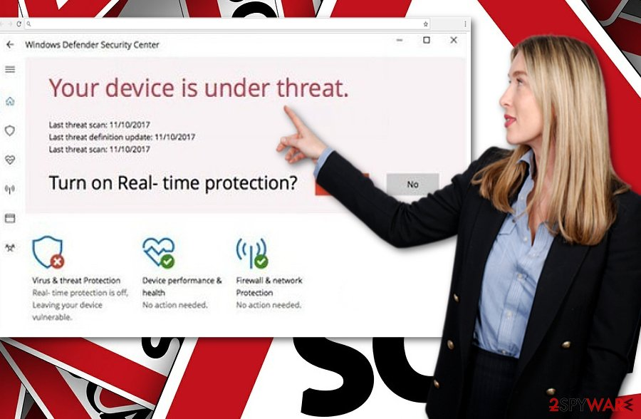 "The image showing ""Your Device Is Under Threat"" alert"