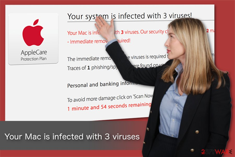 Your system is infected with 3 viruses Mac scam