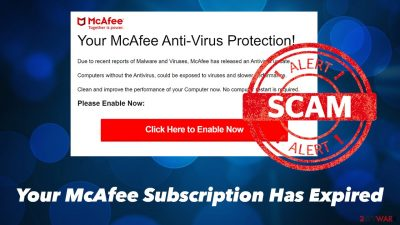Your McAfee Subscription Has Expired pop-up