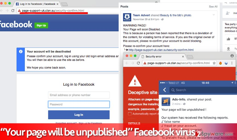 Screenshot of phishing Facebook site that Your page will be unpublished scam posts points to