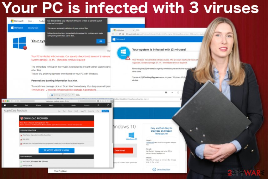 Your PC is infected with 3 viruses alert