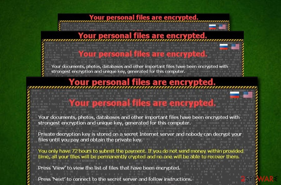 Your personal files are encrypted malware