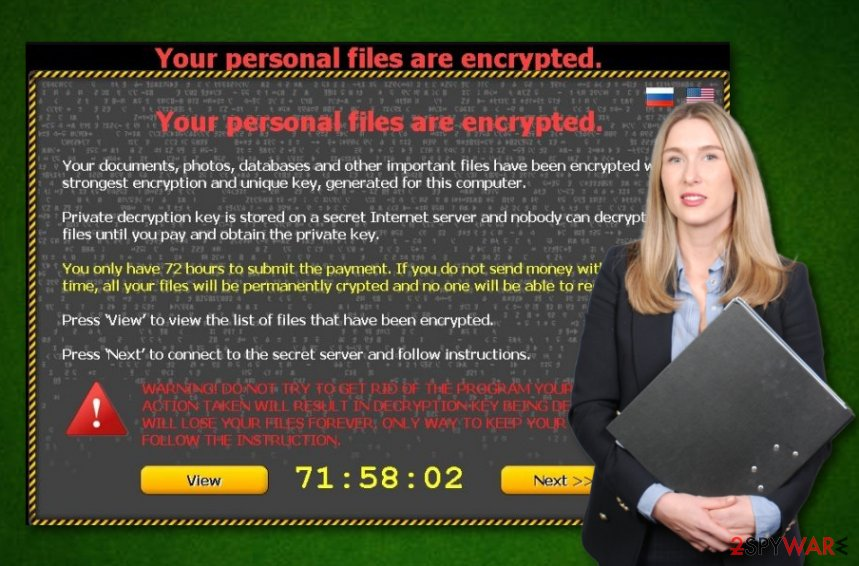 Your personal files are encrypted ransomware