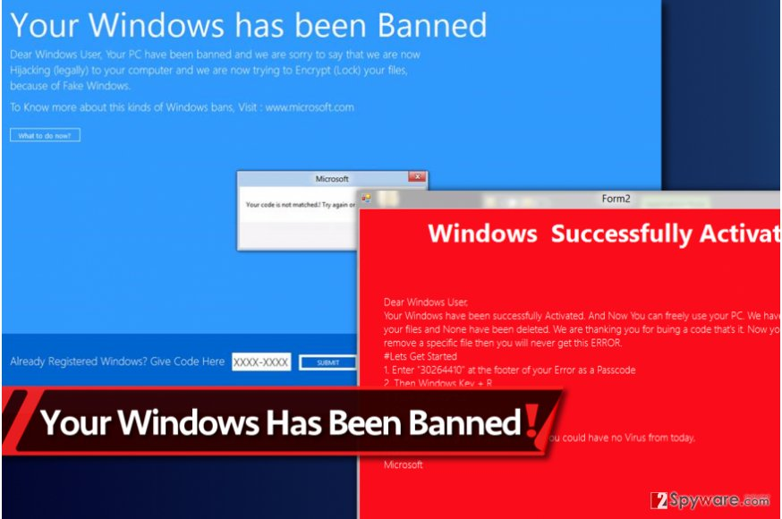 New Your Windows Has Been Banned virus version