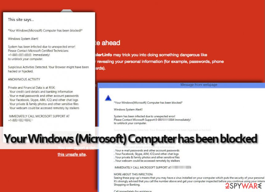 Your Windows (Microsoft) Computer has been blocked fake warning