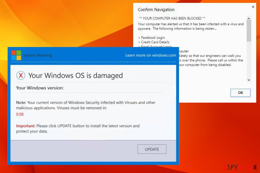 Your Windows OS is damaged virus