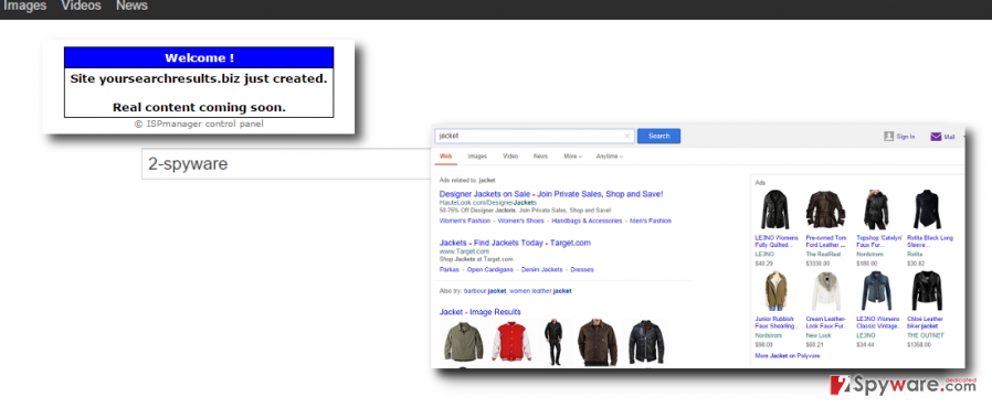 Yoursearchresults.biz hijacker shows sponsored search results and pop-up ads