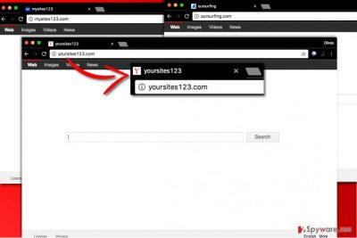 Yoursites123 virus hijacks browser's settings