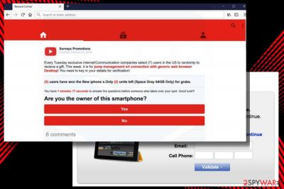 A picture of YouTube Reward Center scam
