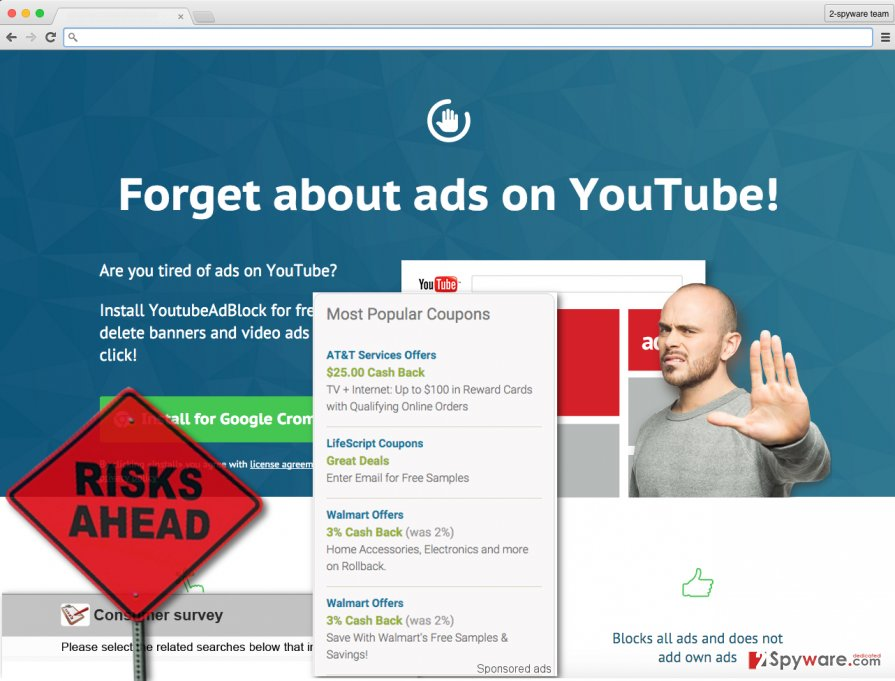 Screenshot of YoutubeAdBlock ads