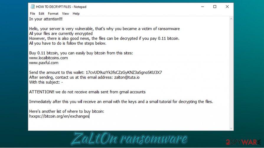 ZaLtOn ransomware