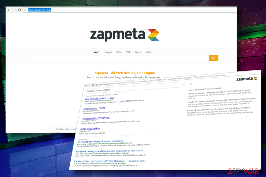 ZapMeta.com redirect virus example