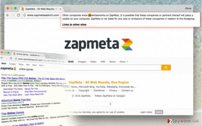 Picture showing functionality of Zapmetasearch.com search virus