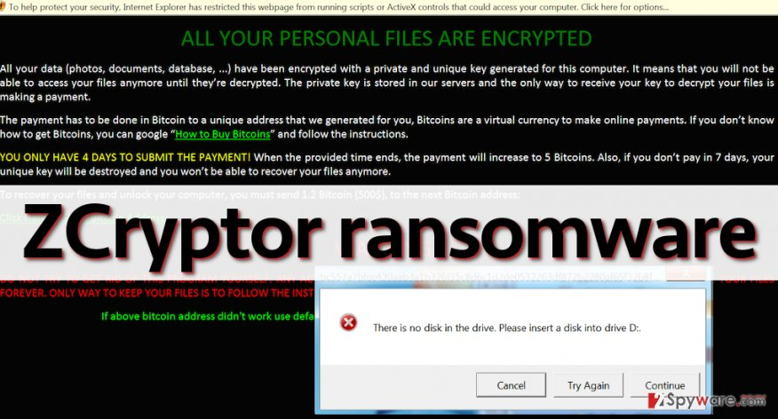 Ransom note by ZCryptor ransomware virus