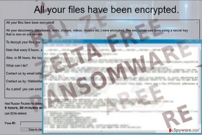 The image displaying Zelta Free ransom note