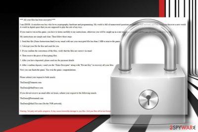 Zenis ransomware virus printscreen