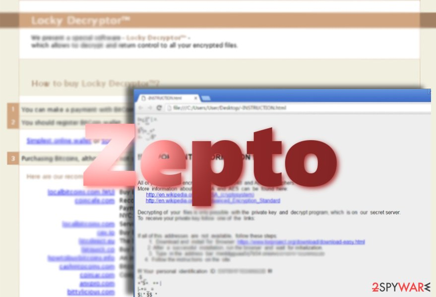 Screenshot of Zepto virus ransom note and payment site