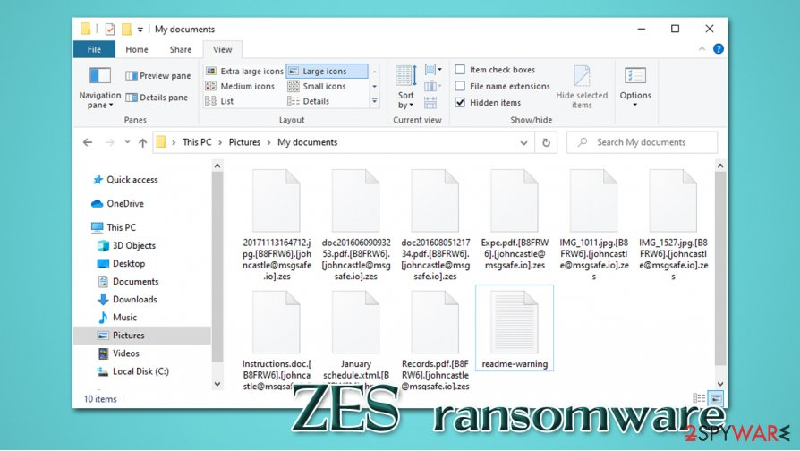 ZES ransomware encrypted files