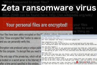 A ransom note illustration of the Zeta ransomware virus