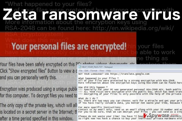 A ransom note illustration of the Zeta ransomware virus