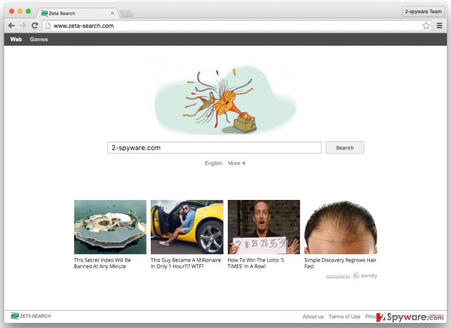 The picture showing Zeta Search browser hijacker