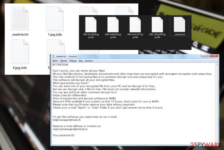 Zida ransomware files