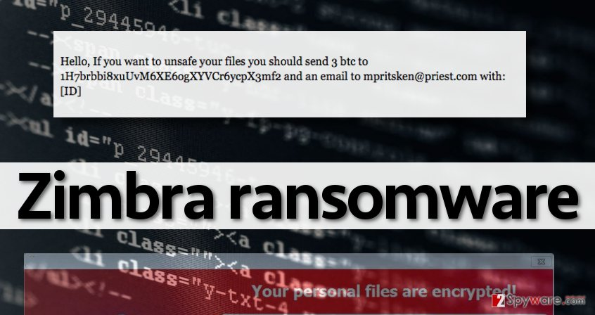 Ransom note from authors of Zimbra malware