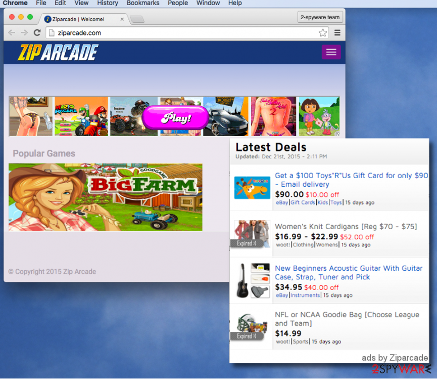 Zip Arcade virus sends annoying ads