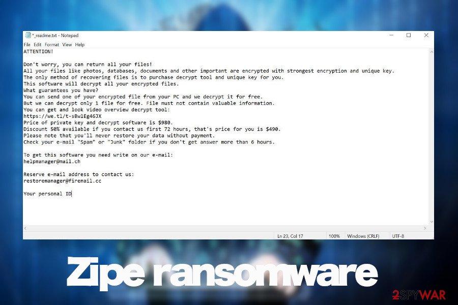 Zipe ransomware virus